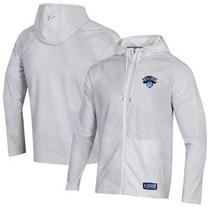 Men's Under Armour White New York Knicks Combine Authentic Holographic Woven Full-Zip Jacket