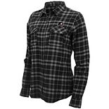 Women's Antigua Black/Gray Philadelphia Flyers Stance Plaid Button-Up Long Sleeve Shirt