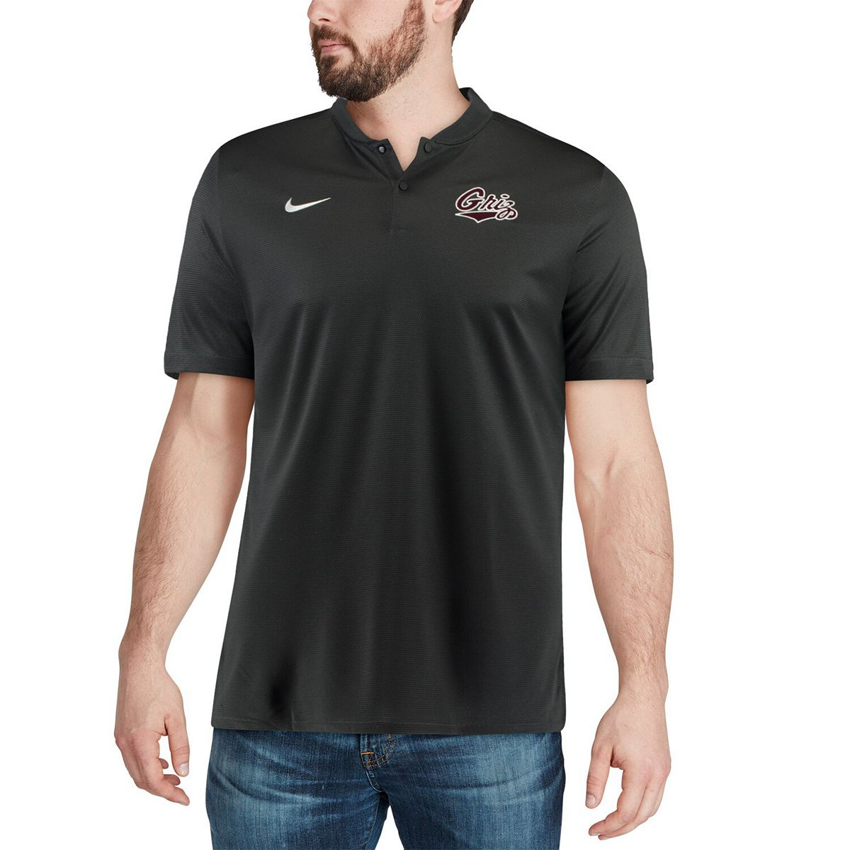 Men's Nike Anthracite Montana Grizzlies 2018 Elite Coaches Sideline Blade Collar Polo A73Al