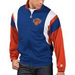 Men's Starter Blue/Orange New York Knicks The Contender Tricot Full-Zip Track Jacket