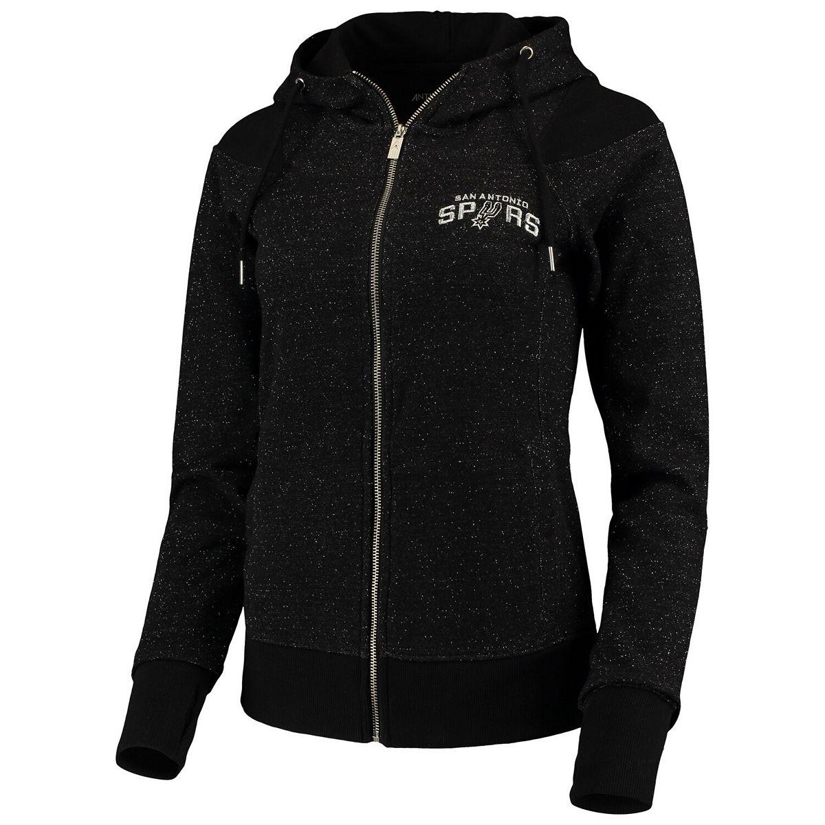 Women's Antigua Heathered Black San Antonio Spurs Lineup Tri-Blend French Terry Full-Zip Hoodie CJGHW