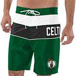 Men's G-III Sports by Carl Banks Kelly Green/Black Boston Celtics All-Star Striped Swim Trunks