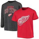 Youth Fanatics Branded Red/Gray Detroit Red Wings Square Two-Pack Combo T-Shirt Set