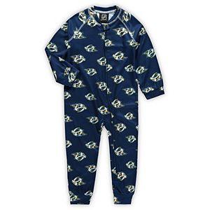 Toddler Navy Nashville Predators Team Print Raglan Sleeve Full-Zip Jumper Pajamas