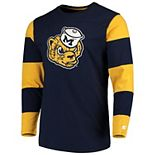Men's Starter Navy/Maize Michigan Wolverines Field Jersey Long Sleeve T-Shirt