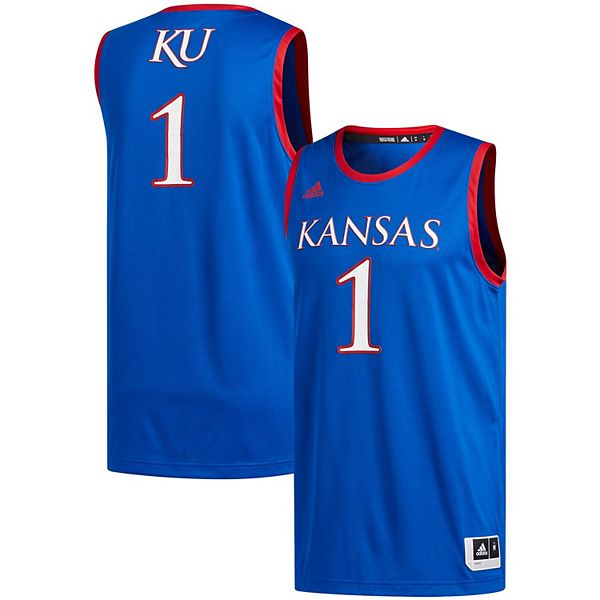Men's adidas #1 Royal Kansas Jayhawks Swingman Basketball Jersey