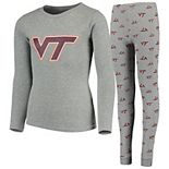Youth Heathered Gray Virginia Tech Hokies Long Sleeve T-Shirt & Pant Sleep Set