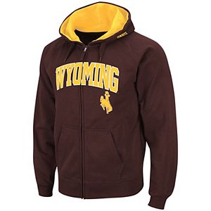 Men's Colosseum Brown Wyoming Cowboys Arch & Logo Tackle Twill Full-Zip Hoodie
