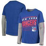 Youth Blue/Gray New York Rangers Binary 2-In-1 Long Sleeve/Short Sleeve T-Shirt Set