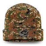 Men's Fanatics Branded Camo Columbus Blue Jackets Authentic Pro Military Appreciation Cuffed Knit Hat