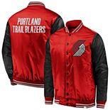 Men's Fanatics Branded Red/Black Portland Trail Blazers Iconic Tackle Twill Satin Jacket