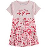 Girls Toddler Wes & Willy Scarlet Ohio State Buckeyes Floral Print Tri-Blend Dress