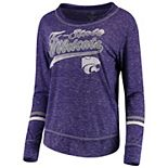 Women's Colosseum Heathered Purple Kansas State Wildcats Giant Dreams Raw Edge Long Sleeve T-Shirt