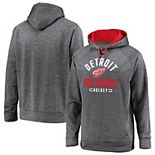 Men's Fanatics Branded Gray Detroit Red Wings Big & Tall Battle Charged Raglan Pullover Hoodie