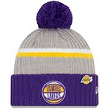 Men's New Era Heathered Gray/Purple Los Angeles Lakers 2019 NBA Draft Cuffed Knit Hat