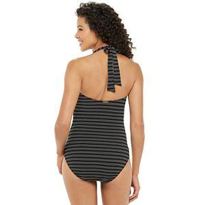 Women's Chaps Textured Stripe Halter One-Piece Swimdress