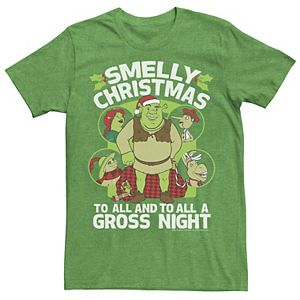 Men's Shrek Smelly Christmas To All Circle Portrait Collage Tee