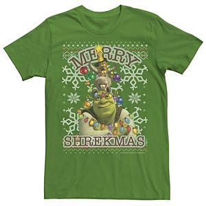Men's Shrek Donkey & Puss Merry Shrekmas Holiday Text Poster Tee