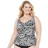 Plus Size Chaps Floral Tummy Slimmer Halterkini Top