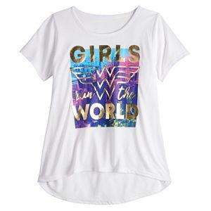 """Girls 7-16 DC Comics Wonder Woman """"Girls Run The World"""" Graphic Tee"""