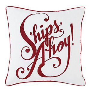 """Nautical """"Ships Ahoy"""" Decorative Pillow"""
