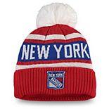 Women's Fanatics Branded Red New York Rangers Fan Weave Cuffed Pom Knit Hat