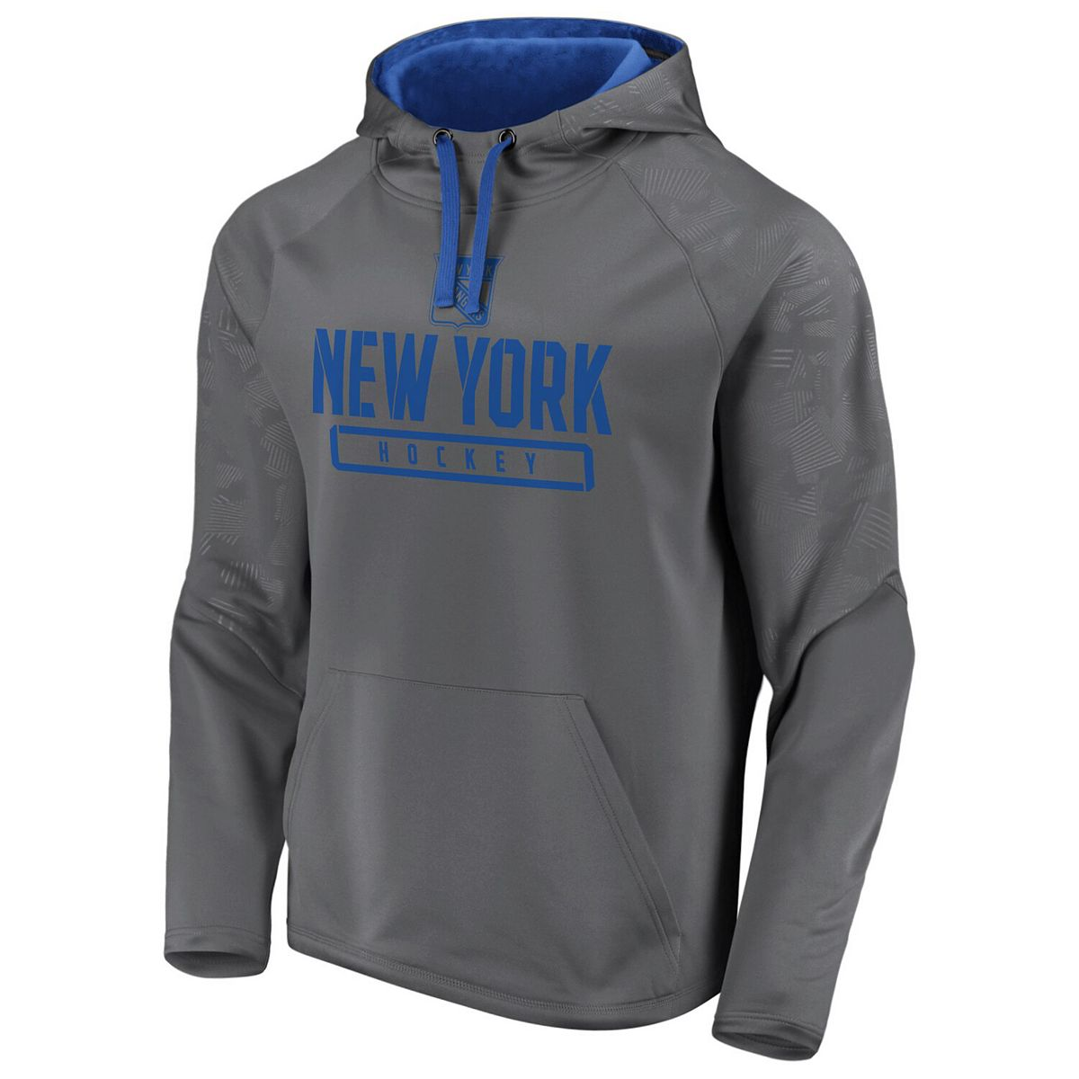 Men's Fanatics Branded Gray New York Rangers Defender Monochrome Engage Raglan Pullover Hoodie n4CrM