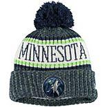Youth New Era Navy Minnesota Timberwolves Sport Pom Cuffed Knit Hat