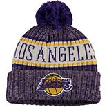 Youth New Era Purple Los Angeles Lakers Sport Pom Cuffed Knit Hat