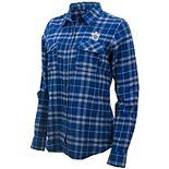 Women's Antigua Blue/Gray Toronto Maple Leafs Stance Plaid Button-Up Long Sleeve Shirt