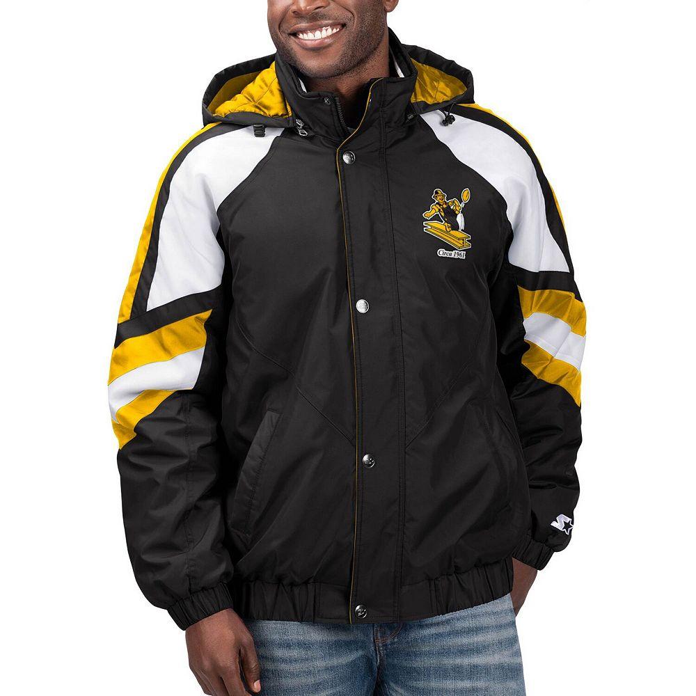 Men's Starter Black Pittsburgh Steelers Throwback Pro Full-Zip Jacket