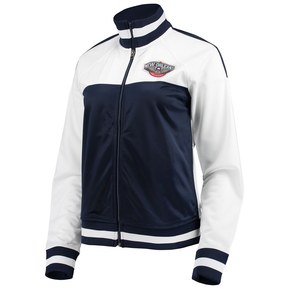 Women's G-III 4Her by Carl Banks White/Navy New Orleans Pelicans Tip Off Rhinestone Tricot Full-Zip Track Jacket Pgfgp