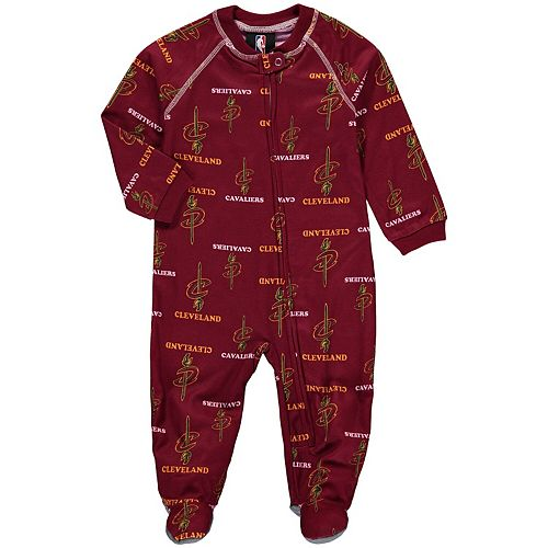 Infant Wine Cleveland Cavaliers Zip-Up Raglan Coverall