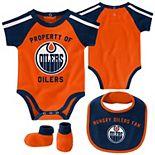 Newborn & Infant Orange/Navy Edmonton Oilers Hard at Play Bib, Booties & Bodysuit Set
