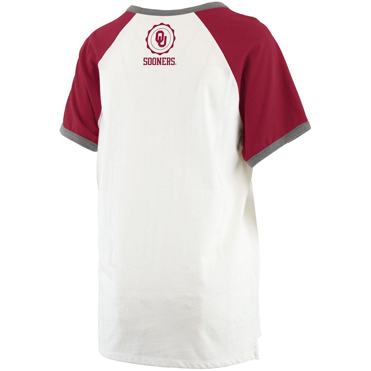 Women's Pressbox White/Crimson Oklahoma Sooners Nova Ringer Raglan T-Shirt mNVkR