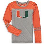 Girls Youth Wes & Willy Heathered Orange/Heathered Gray Miami Hurricanes Slub Blend Long Sleeve Jersey T-Shirt