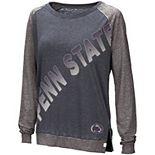 Women's Colosseum Navy Penn State Nittany Lions Binding Diagonal Long Sleeve Raglan T-Shirt
