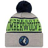 Men's New Era Gray Minnesota Timberwolves Stripe Cuffed Knit Hat with Pom