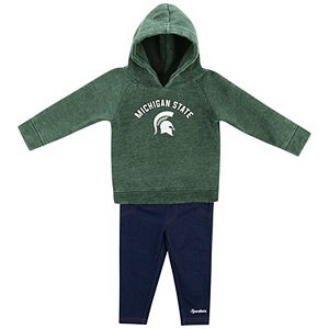 Girls Infant Colosseum Green/Denim Michigan State Spartans Shot At The Pros Hoodie and Jeggings Set