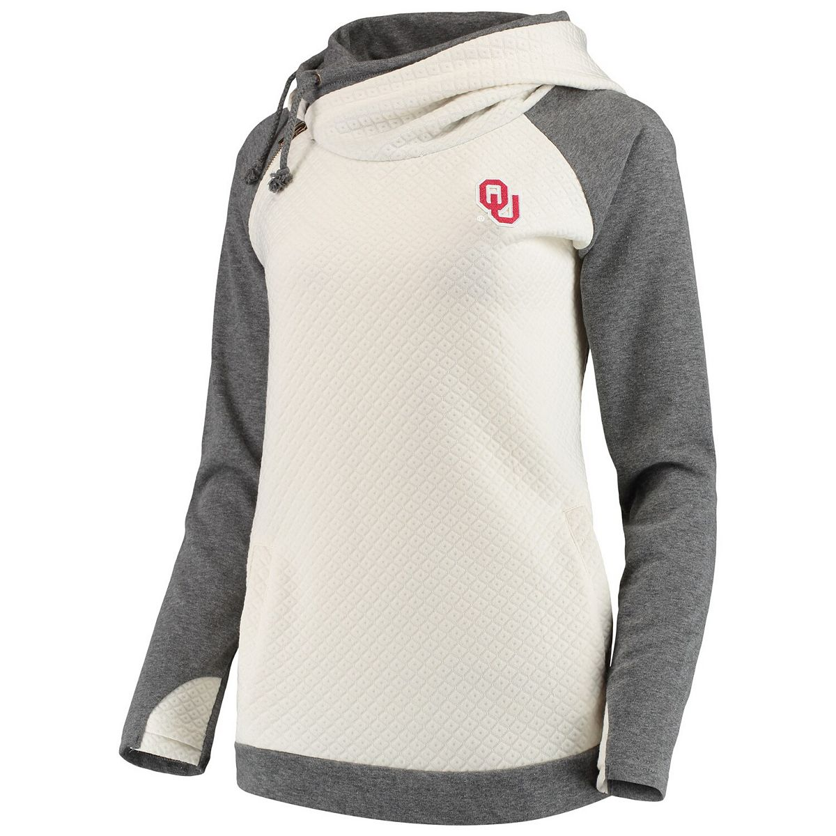 Women's Cream/Charcoal Oklahoma Sooners More Chill Layered Quilted Jacquard Pullover Hooded Sweatshirt 8TWxt