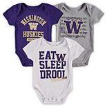 Newborn & Infant Purple/Gold/Heathered Gray Washington Huskies Eat, Sleep & Drool Football 3-Piece Bodysuit Set