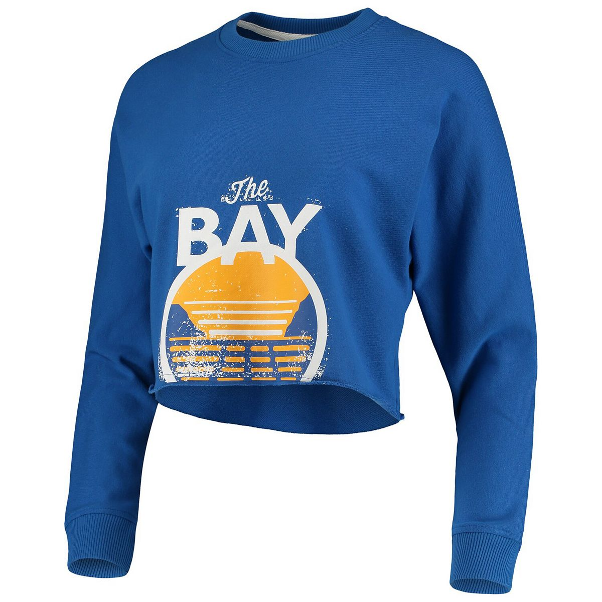 Women's Royal Golden State Warriors Distressed Cropped Long Sleeve Tri-Blend T-Shirt GxJt5