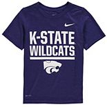 Youth Nike Heathered Purple Kansas State Wildcats Legend Stacked Performance T-Shirt