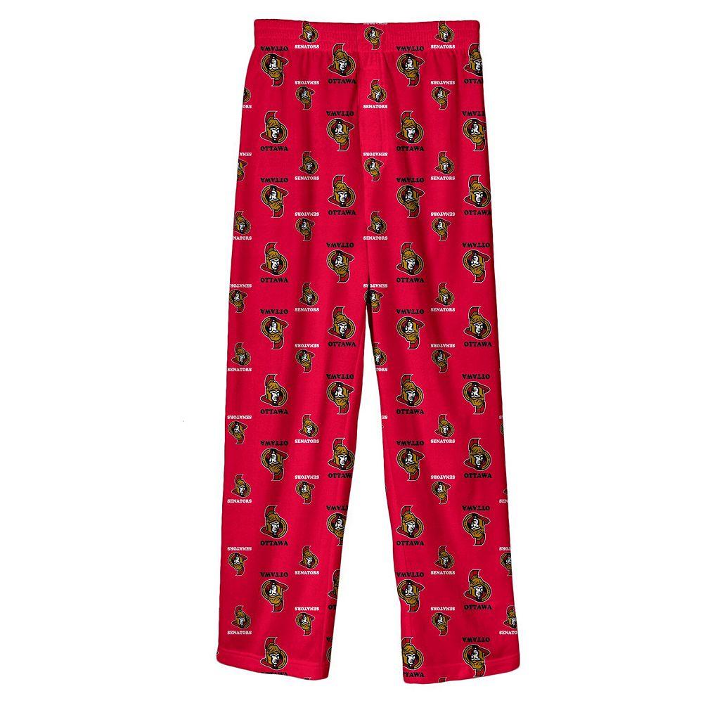 Youth Red Ottawa Senators Team Logo Printed Pajama Pants