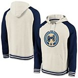 Men's Fanatics Branded Cream/Navy Columbus Blue Jackets Oatmeal Raglan Pullover Hoodie