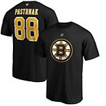 Men's Fanatics Branded David Pastrnak Black Boston Bruins Team Authentic Stack Name & Number T-Shirt