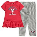 Girls Toddler Red/Gray Washington Capitals Fly on Ice Hoodie Top & Leggings Set