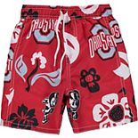 Toddler Wes & Willy Scarlet Ohio State Buckeyes Floral Swim Trunks