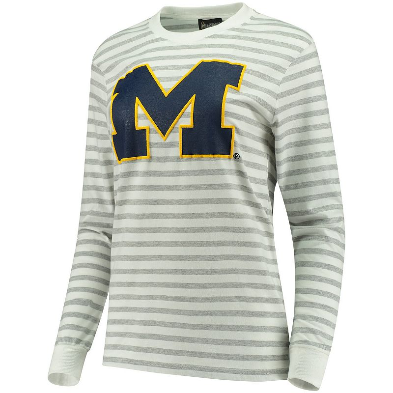 Women's Heathered Gray/White Michigan Wolverines Elbow Patch Striped Long Sleeve T-Shirt, Size: Medium, Grey