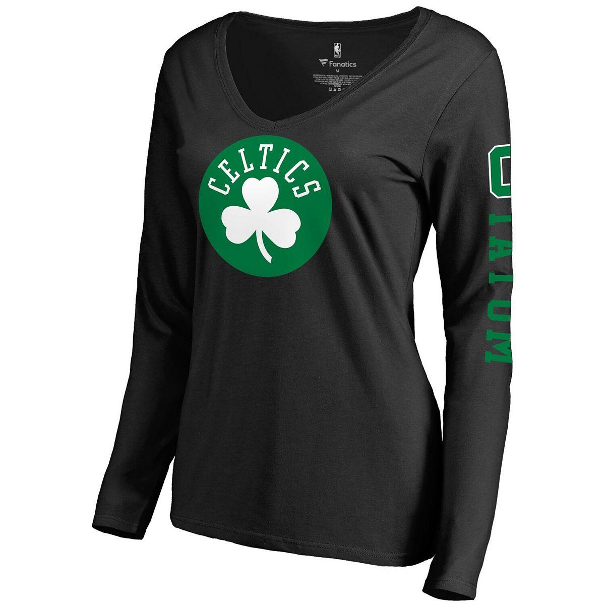 Women's Fanatics Branded Jayson Tatum Black Boston Celtics Team Idol Name & Number Long Sleeve V-Neck T-Shirt nWGhQ